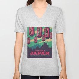 Japan Travel Tourism with Japanese Castle, Mt Fuji, Lanterns Retro Vintage - Green Unisex V-Neck