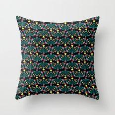 Folk Flowers Black Throw Pillow