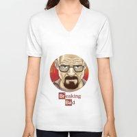 walter white V-neck T-shirts featuring Walter White  by gunberk