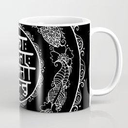 Square - Mandala - Mantra - Lokāḥ samastāḥ sukhino bhavantu - Black White Coffee Mug