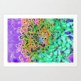 Purple Green Yellow Chrysanthemum Art Print