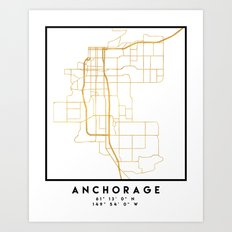 ANCHORAGE ALASKA CITY STREET MAP ART Art Print