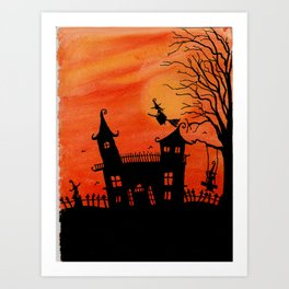 Haunted House Witch Play Art Print