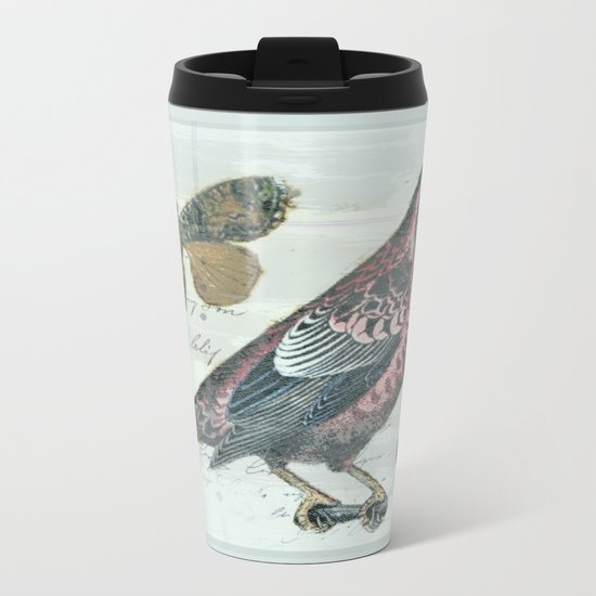 Vintage boho and bird Metal Travel Mug