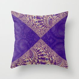 Intersection of abstract purple fractal forms Throw Pillow