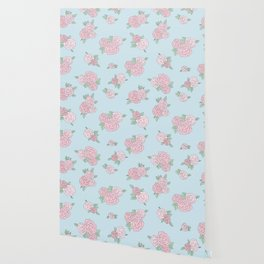 La Vie en Rose - Pink Blue Roses Pattern Wallpaper
