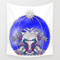 sea horse Wall Tapestries featuring Sea Horse Kiss by Lorelei Douglas