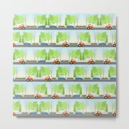 Cars and trees pattern Metal Print