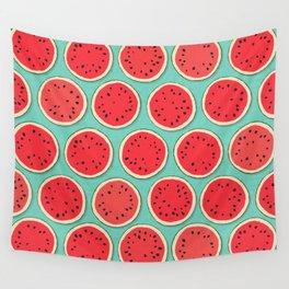 watermelon polka mint Wall Tapestry