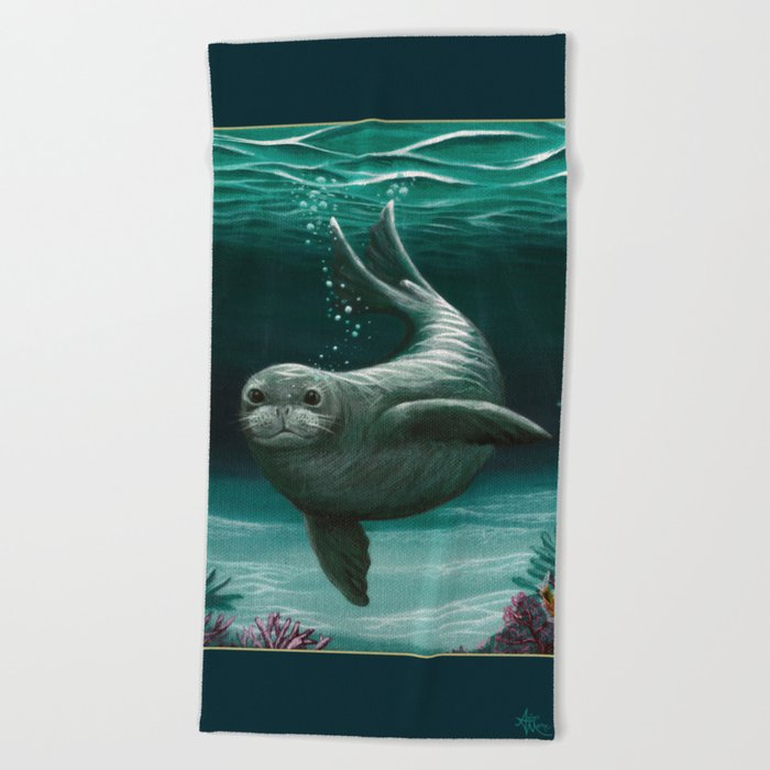 """Hawaiian Monk Seal"" by Amber Marine ~ Acrylic Painting, (Copyright 2015) Beach Towel"