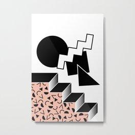 Memphis 80's Design Black and Pink Metal Print