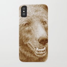 Brown bear is happy iPhone Case