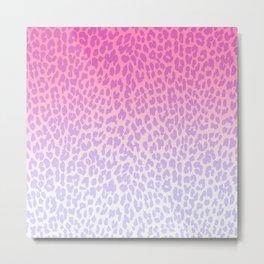 Modern girly pink lavender ombre animal print Metal Print