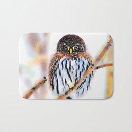 Winter Owl Watercolor Bath Mat