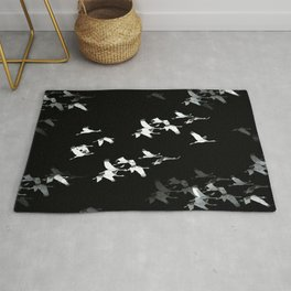 Abstract Black and White Crane Flock #decor #society6 #buyart Rug