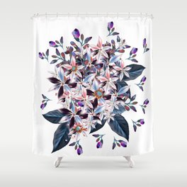 Beautiful watercolor flowers. Blue morning filed Shower Curtain