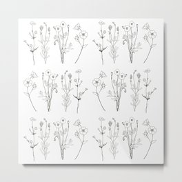 Ink flower stems Metal Print
