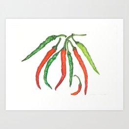 Watercolor Hot Peppers Art Print