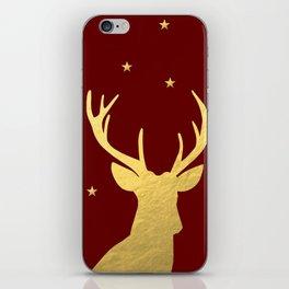 Gold Xmas Deer iPhone Skin