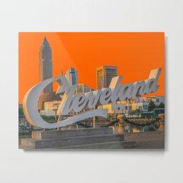 Cleveland Ohio City Skyline Home Fan OH Print Metal Print