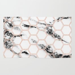 black and white marble with rose gold hexagons Rug
