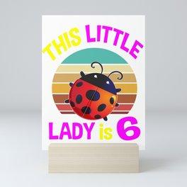 birthday ladybug 6, ladybug, ladybug gifts, lady bug, lady bug gifts, sixth birthday, i'm 6, sixth Mini Art Print