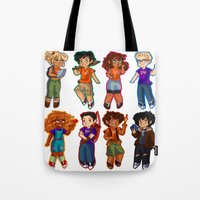 percy jackson Tote Bags featuring Chibis V2  by chubunu