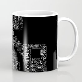 Photography Word Cloud Camera Shape Coffee Mug