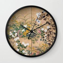 Ogata Korin Flowering Plants in Autumn Wall Clock