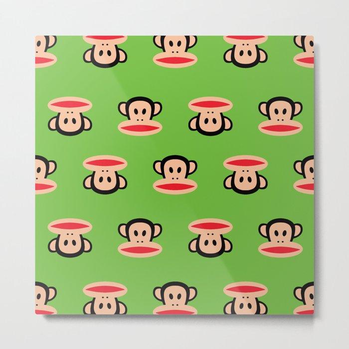 Julius Monkey Pattern by Paul Frank - Green Metal Print
