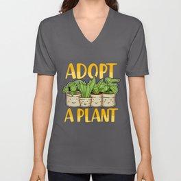 Cute Adopt a Plant Succulent & Gardening Planting Unisex V-Neck