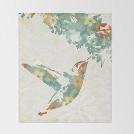 Colorful Teal Hummingbird Art Throw Blanket