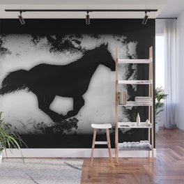 Western-look Galloping Horse Silhouette Wall Mural