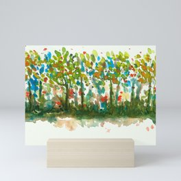 Silent Woods, Abstract Watercolors Landscape Art Mini Art Print