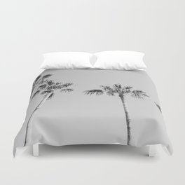 Black Palms // Monotone Gray Beach Photography Vintage Palm Tree Surfer Vibes Home Decor Duvet Cover