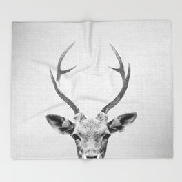 Deer - Black & White Throw Blanket