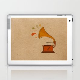 Vintage grammophone with music splashes on brown  Laptop & iPad Skin