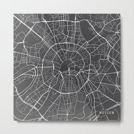 Moscow Map, Russia - Gray Metal Print