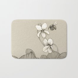 Wild Violets and Honey Bee Bath Mat