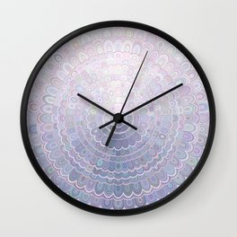 Pale Flower Mandala Wall Clock
