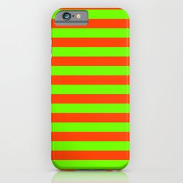 Super Bright Neon Orange and Green Horizontal Beach Hut Stripes iPhone Case
