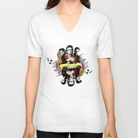 james franco V-neck T-shirts featuring James by IdahoDesign