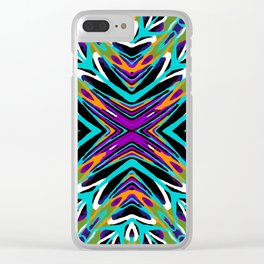 psychedelic geometric graffiti abstract pattern in green blue purple orange Clear iPhone Case