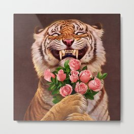 Smiling (shy) Tiger - holding bouquet (rose) Metal Print