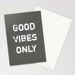 """""""Good Vibes Only""""  Typography Motivational Quote Stationery Cards"""