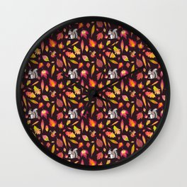 Squirrels, chipmunks and leaves Wall Clock