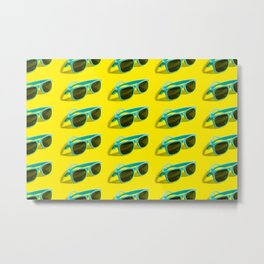 Cyan, aqua menthe sunglasses pattern isolated on background of yellow color. Metal Print