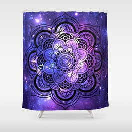 Mandala : Purple Blue Galaxy Shower Curtain