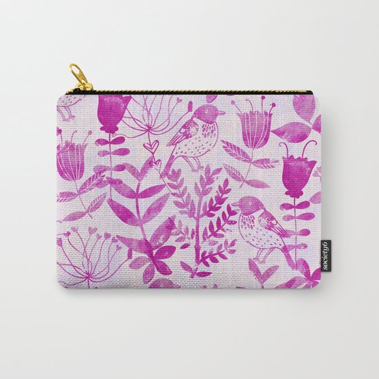 Watercolor Floral & Birds II Carry-All Pouch