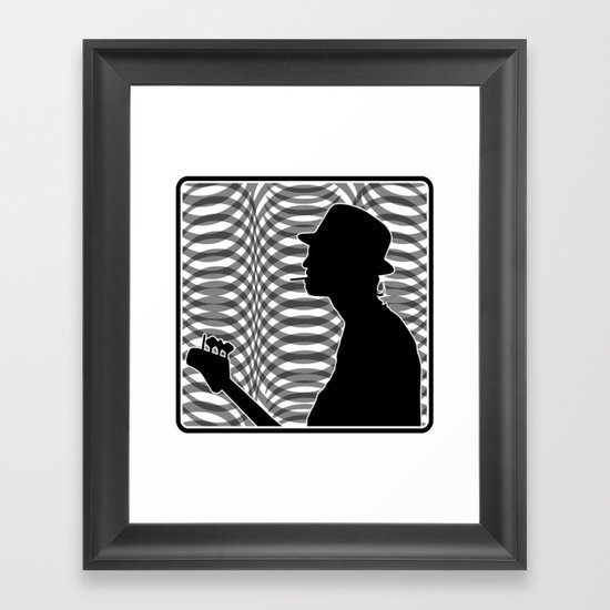 Bass Guitar Player Silhouette B/W Framed Art Print